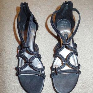 Dana Buchman Black Stretch Gladiator Sandals 9M